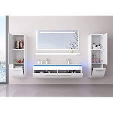 homeline badmöbel doppelwaschbecken set weiß 120 cm mit 2 hängeschränken waschbecken spiegel und ablage vormontiert badezimmermöbel led hochglanz