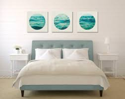 Aqua Wall Art Set Ocean Canvas Three Collection White And Blue