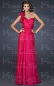 2013 Fushia Chiffon A Line One Shoulder Prom Dress