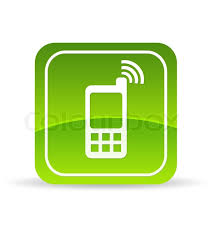 Green Mobile Phone Icon Stock
