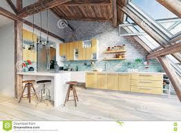 Attic Kitchen Ideas Modern Attic Kitchen Interior Stock Illustration