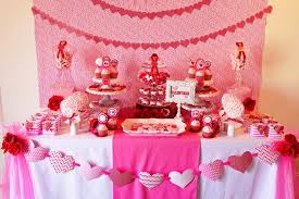 Valentine Table Decoration Pink White Tablecloth Candy And Cookies Heart Paper Craft
