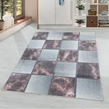 wohnzimmerteppich kurzflor teppich rosa grau quadrat muster marmoriert weich