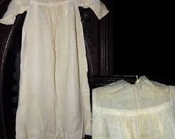 Antique 1800s Lovely Check Victorian Embroidered Eyelet Dress Christening Gown As Is