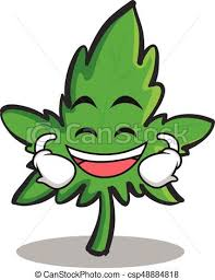 Laughing Face Marijuana Character Cartoon
