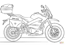 Police Motorcycle Coloring Page Throughout