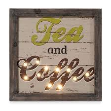 Kitchen Decor Wall Art Tea And Coffee Wood With LED Lights