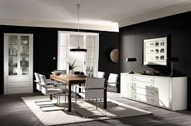 Outstanding Black And White Glamour Dining Room Decor Inspirations With Cabinet Also Display Brown Wood Table