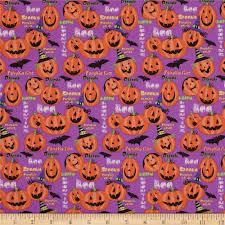 Happs Pumpkin Patch by Horror Scope Jack O Lanterns Purple Discount Designer Fabric