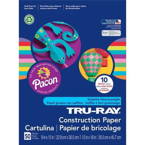 "Tru Ray Brights Construction Paper - Assorted Colors, 9"" x 12"", 50 Sheets"