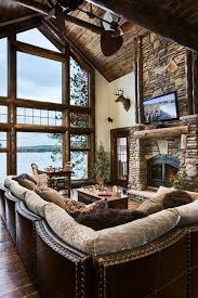 Rustic Living Room Log Cabin Fire Placeperfection Minus The Dead Deer Head Ew Agree