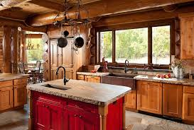 Rustic Kitchen Sinks With Log Cabin Red Island Stone Flooring