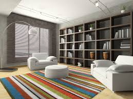 Amazing Living Room Window Blind Ideas Brown Faux Wood Horizontal Blinds Colorful Shag Area Rug Grey