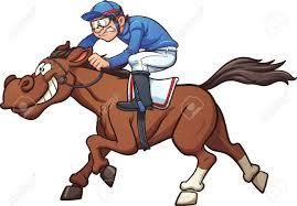 Cartoon race horse Vector clip art illustration with simple gra nts Jockey and horse on