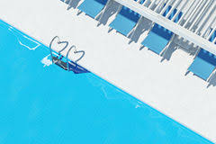 Swimming Pool With Deck Chairs Top View Closeup Of A