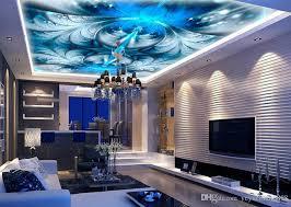 großhandel 3d decke tapeten für wohnzimmer benutzerdefinierte 3d decke wandbilder blauer dämon schöne abstrakte blütenblätter luxus tapete für wände
