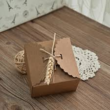 Rustic Eco Friendly Wedding Favor Box With Dried Wheat Stalk EWFB089 As Low 069