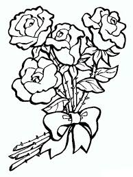 Rose Coloring Pages Roses Bouquet