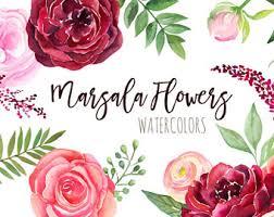Watercolor Burgundy Flowers Clipart