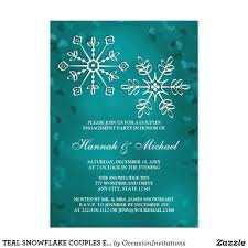 Teal snowflake couples engagement party card