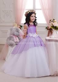 purple tulle lace keyhole back floor length princess flower dress