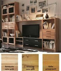 details zu massivholz anbauwand geölt glas schwarz wohnwand wohnzimmer regal schrank wand
