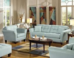 light blue leather sofa set for living room interior