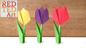 We Adore These Origami Tulips The Head Of Tulip Is SUPER Easy For Kids To Make You Can Just And Then Stick It On A Card Draw