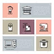 gliederung icon set küchengeräten elektrogeräte haushaltsgeräte für die küche konzepte und web apps linie und flache stilikone vektorzeichen
