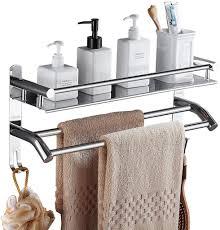 bad regale edelstahl duschregal mit handtuchhalter ohne bohren doppelten badetuchstangen mit haken für badezimmer und küchen