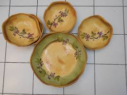 Clay Art Rustic Vines Hand Painted Bowls