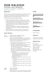 National Sales Manager China Resume Example