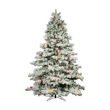 Flocked Christmas Trees Decorated by Shop Vickerman 9 Ft Pre Lit Alaskan Pine Flocked Artificial