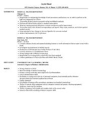Download Medical Transcriptionist Resume Sample As Image File
