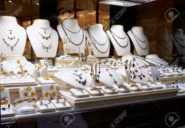 Garnet Jewelry Shop Window Display Stock Photo