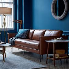 Darrin Leather Sofa From Jcpenney by Imagine The Bryant Leather Sofa Against This Deep Blue Wall