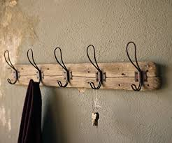 Entryway Rustic Style 5 Hook Wall Mount Wooden Coat Rack Brown Large 26quot