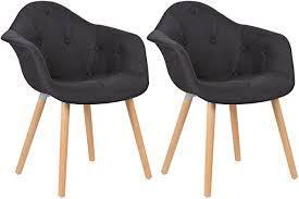 elightry esszimmerstühle 2er set esszimmerstuhl mit lehne design stuhl küchenstuhl leinen holz schwarz