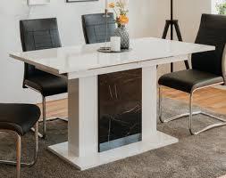 esstisch ausziehbar ausziehtisch hochglanz weiß marmor 140 180 x 80