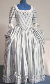 polonaise gown with front closure based on a pattern drawn from
