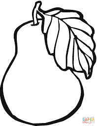 Pear clipart coloring 7