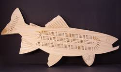 Custom Pine Fish Cribbage Board