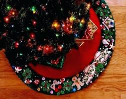 Christmas Tree Skirt Felt Applique Kit Wreath Simple Crochet Pattern