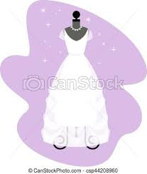 Wedding Dress Fashionable White Gown Mannequin Bride Apparel Vector