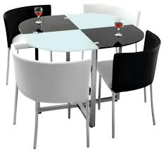 Modern Retro 5 Piece Dinette Set With Faux Leather Black And White Midcentury