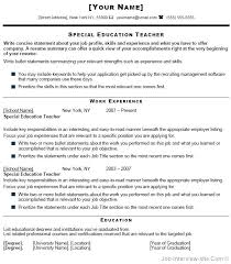 Teacher Resume Example Special Education Sample Summary