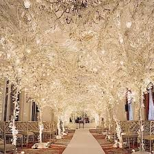 Whitelightstrees Bellabeachweddingscom Winter All White Wedding Theme Ceremony