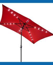 Solar Lighted Rectangular Patio Umbrella by Rectangular Patio Umbrella With Tilt Nucleus Home