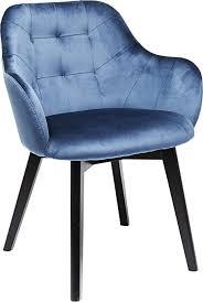 kare design armlehnstuhl black velvet blau