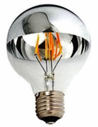 luxon g80 half chrome silver mirror globe shaped led light bulb 4w